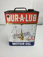 """Vintage """"Dur-A-Lub"""" Holiday Motor Oil Two Gallon Oil Can"""