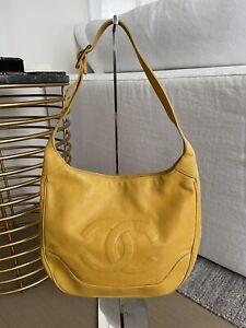 Auth Vintage Chanel Yellow Caviar Hobo Shoulder Bag Handbag