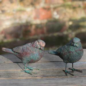 x2 Garden & Home Bronze Bird Robin Wren Ornament Decoration UK