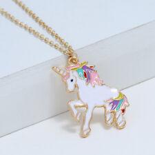 "Rainbow Unicorn Enamel Charm Pendant Necklace 16"" Magical Birthday Gift"