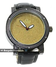 mens big black clubbing white CZ watch gold bling dial leather strap maxx