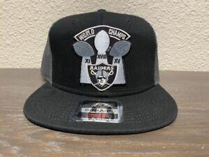 RAIDERS Las Vegas Oakland Los Angeles 3X Super Bowl Champions Trucker Hat NEW