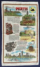 Vintage Retro Souvenir Unused LINEN COTTON Tea Towel - Perth City Kings Park