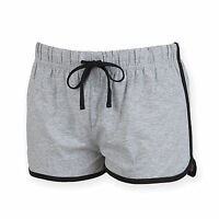 Ladies Retro Style Gym Track Contrast Shorts in Black, Red & Grey Size 8 - 18