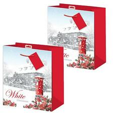 Pack 2 Noël Petit sac cadeau 26.5cm x 21.5cm x 10cm - Blanc Noël