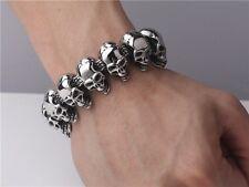 【from US】Rocker Biker Gothic Titanium SKULL Stainless Steel Bracelet 9.5 inch