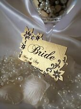 Personalised wooden wedding name place cards; floral; anniversary. Set x 5.