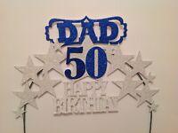 DAD  Birthday Cake Decoration Glitter Custom Topper blue silver