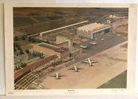 Wandbild Flughafen Stuttgart Turboprop Flugzeuge 92x64cm 1959 vintage poster