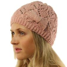 Ladies Girls Teens Winter Shimmer Ribbon Bow Knit Beanie Skull Hat Cap Ski Pink