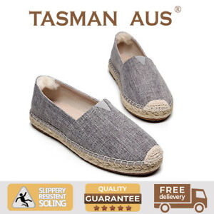 Women Espadrilles Cotton Canvas Basic Flat Breathable slip on shoe Grey 990113