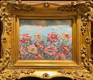 "KADLIC Impasto Floral Still Life Wild Flowers Gilt Ornate Gold Wood 15"" Frame"