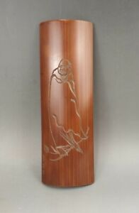 A beautiful Chinese early 20C carved and inscribed bamboo wrist rest-Republic