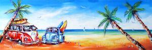 DEBORAH BROUGHTON ART Stretched Surf Canvas Beach Bug Kombi Print: Choose a size