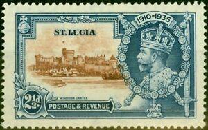 St Lucia 1935 2 1/2d Brown & Dp Blue SG111g Dot to Left of Chapel Fine Mtd Mint