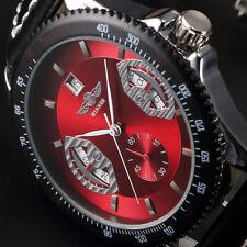 Winner Brand New Mens Automatic Mechanical Wrist Watch Date Black Leather Strap