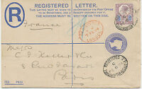 2468 1894 QV superb Registered Letter 2D blue PS uprated Jubilee 5D HUTH PERFIN