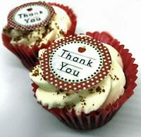 24 PRECUT Thank You Edible Wafer Paper Cupcake Cake Toppers Decorations