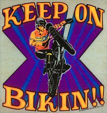 Original Vintage Keep On Bikin! Iron On Transfer Bmx Motorcycle Dayglo