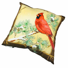 "Woodland Birds Christmas Cardinal Chickadees Reversible 18"" Square Pillow"