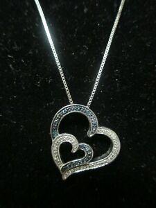 "Jane Seymour 925 Blue diamonds and White, Double Heart Open Heart JWBR 18"""