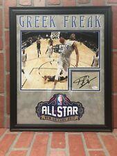 Giannis Antetokounmpo autograph signed floorboard framed NBA Milwaukee Buck JSA