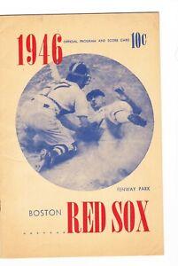 1946 BOSTON RED SOX vs ST LOUIS baseball program Scorecard