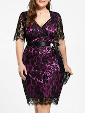 Women's Plus Size Lace Formal Party Bodycon Dress with Belt High Waist Dress