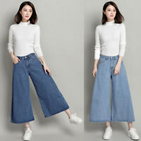 Plus Size Women Wide Leg Jeans Denim Trousers Loose High Waist Pants Blue XL-5XL