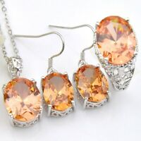 Nice Oval Fire Morganite 925 Silver Earrings Ring Pendants Necklace Jewelry Sets