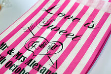 50 PERSONALISED Love is Sweet Wedding Candy Bar Bags Buffet Pink & White Striped