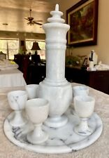 Marble White Mixed w/Grey Bar Set Decanter with 6 Cordial Glasses and Tray