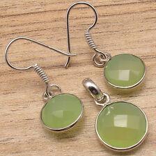 GREEN SEA CHALCEDONY Earrings & Pendant ! Silver Plated Metal Jewellery
