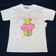 Girls T-Shirt Birthday Princess Cup Cake Pom Poms Glitter Short Sleeves Small