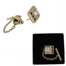CZ Cibuc Zirconia Square Tie Tack Gold Tone Mens Gift Boxed
