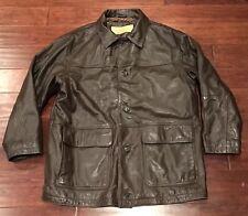 Vintage Timberland Mens Brown Leather Warm Winter 3/4 Length Coat Jacket Sz L