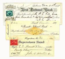 1 set of 3 1870's-1900's USA docum. stamp checks nice used