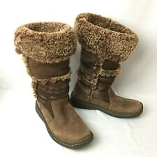 Born Women's Shearling Brown Suede Leather Mid Calf Distressed Boots US 10 EU 42