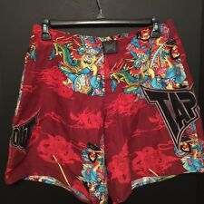 TapOuT 32 Fighter Judo Boxing Board Shorts Red Dragons Swords Warrior Drawstring