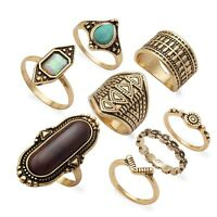 Vintage Blue Red Rhinestone Gold Plated Lady Girl Mixed Sizes Rings Sets Jewelry
