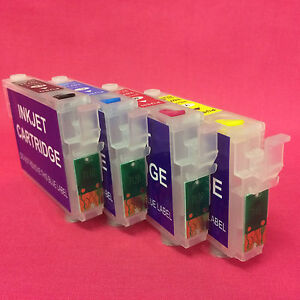 4 Refillable Empty Compatible Ink Cartridges For Epson T0711 -4 Auto Reset Chips