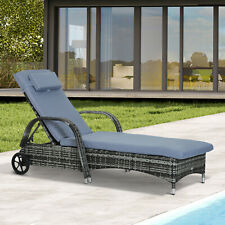 More details for outsunny adjustable wicker rattan sun lounger recliner chair w/ cushion grey