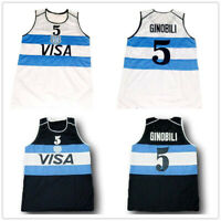 Manu Ginobili #5 Team Argentina Basketball Jerseys Stitched White Navy Jerseys