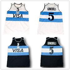 Manu Ginobili #5 Team Argentina Basketball Jerseys Stitched White Navy Jerseys