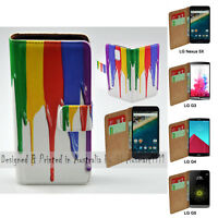 For LG Series Mobile Phone - Rainbow Paint Theme Print Wallet Phone Case Cover