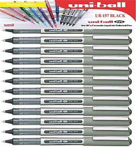 6 x Uniball Eye FINE UB-157 Roller Ball Pen 0.7mm BLACK Genuine Mitsubishi