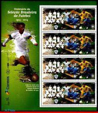 14-16F1 BRAZIL 2014, CENTENARY OF BRAZILIAN FOOTBALL/SOCCER TEAM, HALF SHEET MNH