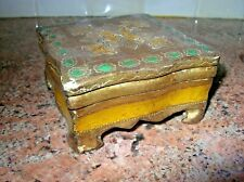 HTF Vintage Gilt Florentine Tole Lidded Box Gold Embossed Green, Yellow