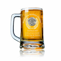 60th Birthday Gift Engraved Pint Glass Tankard with Fly Fishing Feature