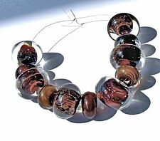"""UNIQUE HANDMADE LAMP WORK GLASS BEADS, """"ENCASED SILVER BROWN"""""""